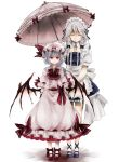 2girls bat_wings bow braid closed_eyes detached_collar faux_traditional_media hair_bow hair_ornament hair_ribbon hat highres holding izayoi_sakuya looking_at_viewer maid maid_headdress mob_cap multiple_girls parasol pointy_ears red_eyes remilia_scarlet ribbon short_hair silver_hair smile touhou toutenkou twin_braids umbrella white_background wings
