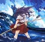 1girl akagi_(kantai_collection) arrow bow_(weapon) brown_hair gloves japanese_clothes kantai_collection long_hair ocean solo thigh-highs tora_jun water weapon