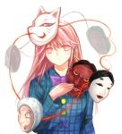 1girl bow bust expressionless fox_mask hata_no_kokoro highres long_hair long_sleeves looking_at_viewer mask noh_mask oni_mask pink_eyes pink_hair plaid plaid_shirt simple_background solo touhou white_background x&x&x