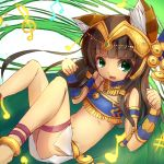 1girl animal_ears anklet armlet bangs bastet_(p&d) blunt_bangs blush bracelet brown_hair cat_ears cat_tail dark_skin egyptian egyptian_clothes fang from_above green_eyes hair_ornament headpiece if_(asita) jewelry leg_band legs_up long_hair lying musical_note necklace on_back open_mouth puzzle_&_dragons skirt smile solo tail white_skirt