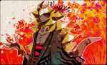 black_eyes giratina grey_skin japanese_clothes kantarou_(8kan) kimono leaf lycoris_radiata maple_leaf personification pokemon pokemon_(game) red_pupils solo tagme tail