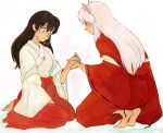 1boy 1girl animal_ears black_hair brown_eyes dog_ears flower higurashi_kagome inuyasha inuyasha_(character) japanese_clothes long_hair miko seiza sitting squatting white_hair wide_sleeves yabu1306 yellow_eyes