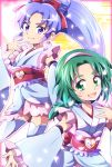 2girls akimoto_komachi anmitsu_komachi cosplay crossover cure_fortune cure_fortune_(cosplay) detached_sleeves earrings frills green_eyes green_hair hair_ornament hair_ribbon hairband happinesscharge_precure! hikawa_iona hitopm japanese_clothes jewelry magical_girl multiple_girls ponytail precure purple_hair ribbon violet_eyes yes!_precure_5 yes!_precure_5_gogo!