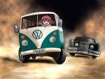 car car_chase driving kanbara_satomi left-hand_drive motor_vehicle open_mouth parody red_hair redhead richard_crazyman saki short_hair smile the_car van vehicle volkswagen