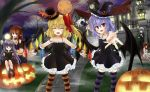 bat_wings blonde_hair flandre_scarlet halloween hat head_wings headwings hong_meiling izayoi_sakuya koakuma long_hair okitakung patchouli_knowledge ponytail pumpkin purple_hair red_eyes red_hair redhead remilia_scarlet short_hair silver_hair thigh-highs thighhighs touhou wings
