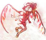 bad_id fang flandre_scarlet flying hat monochrome open_mouth outstretched_arms red side_ponytail spot_color spread_arms touhou utsugi_(skydream) wings yellow_eyes
