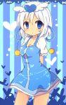 1girl blue_eyes character_request facial_mark hair_ornament looking_at_viewer short_hair solo towelket_wo_mou_ichido uguisu_mochi_(ykss35) white_hair