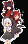 3girls :d animal_ears bat_wings black_eyes black_hair bow cat_ears character_request hair_bow hair_ornament hair_ribbon heterochromia japanese_clothes kimono long_hair looking_at_viewer mouse_ears multiple_girls one_eye_closed open_mouth redhead ribbon short_hair smile tears towelket_wo_mou_ichido translation_request uguisu_mochi_(ykss35) white_hair wings