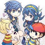 1girl 3boys ape_(company) black_hair blonde_hair blue_eyes blue_hair cape doseisan fire_emblem fire_emblem:_kakusei gloves hal_laboratory_inc. hat intelligent_systems koharu64 krom long_hair lucas lucina mother_(game) mother_2 mother_3 ness nintendo smile sora_(company) super_smash_bros. super_smash_bros._ultimate super_smash_bros_brawl super_smash_bros_for_wii_u_and_3ds tiara