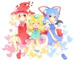 3girls animal_ears bat_wings blonde_hair blue_eyes blue_hair bow cat_ears character_request hair_bow hair_ornament hair_ribbon hands_on_headwear hat heart heart_background multiple_girls outstretched_arms pout red_eyes ribbon short_hair sitting spread_arms towelket_wo_mou_ichido twintails uguisu_mochi_(ykss35) white_hair wings witch_hat