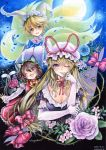 3girls animal_ears blonde_hair blue_rose bodice breasts brown_hair bust cat_ears cat_tail chen choker cleavage colored_pencil_(medium) dated dress elbow_gloves eyeballs eyelashes fang flower fox_tail full_moon gap gloves gradient gradient_background hair_twirling hand_on_own_face hands_in_sleeves hat hat_ribbon hat_with_ears head_tilt highres jewelry juliet_sleeves long_hair long_sleeves mob_cap moon mosho multiple_girls multiple_tails one_eye_closed parted_lips pink_rose puffy_sleeves purple_rose red_eyes ribbon ribbon_choker rose short_hair short_sleeves signature single_earring tabard tail thorns touhou traditional_media very_long_hair violet_eyes watercolor_(medium) yakumo_ran yakumo_yukari yellow_eyes