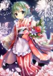 1girl absurdres apron ayakashi_onmyouroku bamboo berries blue_eyes blush bob_cut branch cherry_blossoms coat evollis fireworks floral_print flower frilled_apron frills green_hair hair_flower hair_ornament hair_ribbon hairband highres holding holding_flower japanese_clothes kadomatsu_(ayakashi) kimono lace lace-trimmed_sleeves leaf long_sleeves night night_sky no_nose obi orange_ribbon outdoors petals pink_rose red_ribbon ribbon rose sash short_hair sky smile solo star_(sky) striped