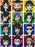 3d_glasses 6+boys 6+girls aradia_megido black-framed_glasses black_hair brown_eyes cane cape chibi choker coat equius_zahhak eridan_ampora fang fangs feferi_peixes gamzee_makara glasses goggles green_eyes grey_skin hat homestuck horns jewelry kanaya_maryam karkat_vantas long_hair mihirahira multicolored_hair multiple_boys multiple_girls necklace nepeta_leijon one_eye_closed open_mouth pink_eyes red_glasses scarf short_hair smile sollux_captor striped striped_scarf sunglasses sweatdrop sweater tank_top tavros_nitram terezi_pyrope two-tone_hair violet_eyes vriska_serket yellow_sclera