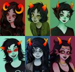 6+girls aradia_megido black_hair bust choker coat fangs feferi_peixes glasses goggles grey_eyes grey_skin homestuck horns jewelry kanaya_maryam lipstick long_hair makeup multiple_girls necklace nepeta_leijon realistic red_glasses red_sclera short_hair smile terezi_pyrope vriska_serket yellow_sclera
