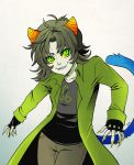 1girl animal_ears cat_ears claws fang fingerless_gloves gloves green_eyes green_hair grey_skin homestuck horns jin-nyeh nepeta_leijon short_hair smile solo tail yellow_sclera