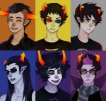 3d_glasses 6+boys black_hair bust cape equius_zahhak eridan_ampora fangs gamzee_makara glasses grey_skin homestuck horns karkat_vantas makeup mohawk multicolored_hair multiple_boys scarf sharp_teeth short_hair smile sollux_captor striped striped_scarf sunglasses sweater tank_top tavros_nitram two-tone_hair yellow_sclera