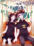 1boy 1girl 3d_glasses aradia_megido black_hair closed_eyes glasses grey_skin hetero holding_hands homestuck horns lipstick long_hair makeup nail_polish short_hair sitting skirt smile sollux_captor swing