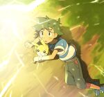1boy ame_(ame025) ash_ketchum bangs blue_footwear brown_eyes clenched_hand electricity from_above gen_1_pokemon glowing grass green_hair looking_up male_focus outdoors pants pikachu pokemon pokemon_(anime) pokemon_sm_(anime) shirt shoes short_hair short_sleeves striped striped_shirt sweatdrop t-shirt z-ring