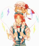 1boy 1girl ^_^ biting blonde_hair braid carrying closed_eyes fang flandre_scarlet genderswap hands_together hat hat_biting hat_ribbon highres hong_meiling kneehighs long_sleeves mob_cap no_shoes pointy_ears puffy_short_sleeves puffy_sleeves redhead ribbon short_hair short_sleeves shoulder_carry side_ponytail simple_background sketch smile star tian_(my_dear) touhou twin_braids v_arms vest white_background white_legwear wings wrist_cuffs