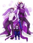 3boys aquarius black-framed_glasses black_hair cape cigarette cronus_ampora dual_persona eridan_ampora fang fangs frown gills glasses grey_skin harpoon highres homestuck horns jewelry multicolored_hair multiple_boys orphaner_dualscar piercing ring scar scarf short_hair sitting smile striped striped_scarf ti9931 two-tone_hair vertical-striped_pants vertical_stripes violet_eyes weapon white_eyes yellow_sclera