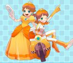 alternate_costume blush brown_hair crown dress dual_persona earrings gloves grin jewelry looking_at_viewer mario_kart motor_vehicle motorcycle one_eye_closed parted_lips princess_daisy sitting smile standing steering_wheel super_mario_bros. t_k_g tagme vehicle wii