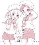 2boys blush dotted_line free! funikurikurara glasses hat holding_hands male monochrome multiple_boys nanase_haruka_(free!) open_mouth ryuugazaki_rei sailor sailor_hat v
