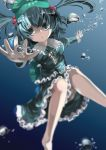 1girl bare_legs barefoot blue_hair bubble dress hair_bobbles hair_ornament hands_up hat kawashiro_nitori key legs long_sleeves open_mouth outstretched_arms pocket shirt short_hair skirt skirt_set solo touhou twintails underwater wet wet_clothes