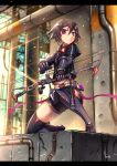 1girl black_hair bow_(weapon) gauntlets gia highres midriff original short_hair shorts solo thigh-highs violet_eyes weapon