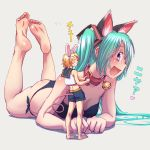 2girls animal_ears barefoot bell bell_collar cat_ears closed_eyes collar giantess grin hatsune_miku highres kagamine_rin long_hair lying midriff mouse_ears mouse_tail multiple_girls on_stomach open_mouth short_hair shorts smile soles tail toenail_polish vocaloid wokada