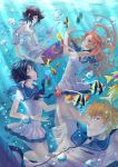 2boys 2girls air_bubble alexa_pasztor black_hair bleach blue_eyes cosplay fish green_eyes highres inoue_orihime kuchiki_rukia kurosaki_ichigo long_hair multiple_boys multiple_girls nagi_no_asukara orange_hair sailor_collar sailor_dress school_uniform sea_slug serafuku ulquiorra_cifer underwater