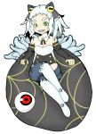 1girl bare_shoulders buraninn chaos_code crossed_legs cthylla_(chaos_code) detached_collar detached_sleeves eyeball green_eyes grin multicolored_eyes over-kneehighs sharp_teeth silver_hair sitting small_breasts smile solo yellow_eyes