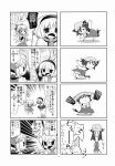 4koma alice_margatroid animal_ears bottle bow capelet cat_ears cat_tail chen choborau_nyopomi cirno comic exercise hair_bow hairband hat highres monochrome polearm spear tail touhou tree water_bottle weapon weightlifting yakumo_ran