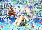 1girl azumamutuki bare_legs bird closed_eyes clownfish dragonfly flower highres in_water long_hair looking_at_viewer open_mouth origami original paper_crane petals silver_hair smile solo tears wind