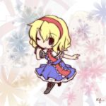 1girl alice_margatroid blonde_hair blue_eyes book capelet chibi dress fushigi_ebi hairband one_eye_closed ribbon short_hair smile solo touhou