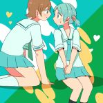 aioi_yuuko blue_hair brown_hair heart naganohara_mio necktie nichijou school_uniform smile twintails waka_(buraisu)
