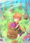 1girl :3 animal_ears bird brown_hair butterfly flower fox_ears fox_tail fred04142 gourd looking_at_viewer original red_eyes short_hair shorts sleeves_past_wrists smoke tagme tail tree