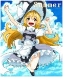 1girl :d apron blonde_hair bow braid clouds cloudy_sky dress hair_bow hat hat_bow jumping kirisame_marisa legs long_hair open_mouth puffy_short_sleeves puffy_sleeves sash shiratama_(hockey) short_sleeves single_braid sky smile solo summer touhou traditional_media turtleneck waist_apron witch_hat yellow_eyes
