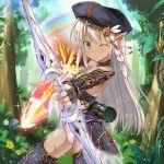 1girl arrow beret blue_eyes blush bow_(weapon) braid elbow_gloves fingerless_gloves fire flower forest glint gloves hat himedatsu!_dungeons_lord kazumasa leotard long_hair nature official_art one_eye_closed original petite platinum_blonde pointy_ears quiver rainbow single_braid smile solo tan water water_drop weapon wet