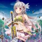 1girl black_legwear blush bracelet breasts broken earrings elbow_gloves fingerless_gloves gloves hair_ornament himedatsu!_dungeons_lord jewelry kazumasa long_hair looking_at_viewer magic midriff open_mouth original pointy_ears red_eyes silver_hair skirt sky solo sword thigh-highs tress weapon
