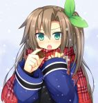 1girl blush brown_hair bust chocolate chocolate_heart coat fuji_kakei gift green_eyes hair_between_eyes hair_ribbon heart holding holding_gift if_(choujigen_game_neptune) long_hair long_sleeves looking_at_viewer neptune_(series) open_mouth plaid plaid_scarf ribbon scarf side_ponytail snowing solo tsurime valentine