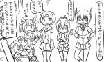 5girls ahoge chair comic detached_sleeves double_bun hair_ornament hair_ribbon headband i-19_(kantai_collection) kantai_collection monochrome multiple_girls nagara_(kantai_collection) nagareboshi naka_(kantai_collection) neckerchief ponytail ribbon sailor_collar school_swimsuit school_uniform shiranui_(kantai_collection) short_hair stuck swimsuit tenryuu_(kantai_collection) thigh-highs tonda translation_request twintails wet |_|