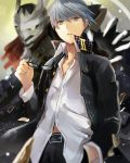 1boy black-framed_glasses blurry depth_of_field efe glasses glasses_removed grey_eyes grey_hair hand_in_pocket houndstooth izanagi jacket looking_at_viewer narukami_yuu open_clothes open_jacket persona persona_4 school_uniform short_hair