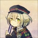 1boy ayu_(mog) bust face green_eyes hat hotarumaru katana looking_at_viewer lowres male_focus short_hair sode solo sword touken_ranbu weapon