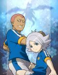 2boys dragon fubuki_shirou glowing glowing_eyes grin inazuma_eleven inazuma_eleven_(series) inazuma_japan lightning_bolt male mizuhara_aki multiple_boys short_hair silhouette smile soccer_uniform someoka_ryuugo sportswear western_dragon