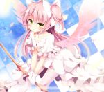 1girl bow_(weapon) choker collarbone dress gloves goddess_madoka hair_bobbles hair_ornament kaname_madoka looking_at_viewer mahou_shoujo_madoka_magica pen-zin petals pink_hair pink_legwear pink_wings short_sleeves solo thigh-highs tile_background two_side_up v_arms weapon white_dress white_gloves wide_sleeves wings yellow_eyes zettai_ryouiki