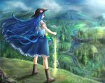1girl bird blue_hair boots bow cliff clouds cloudy_sky dress facing_away food forest fruit full_body glint grass grin hat hinanawi_tenshi leaf legs_apart long_hair mountain nature peach red_eyes river satoji_(ochanomkmskry) scenery short_sleeves sky smile solo standing sword_of_hisou tassel touhou very_long_hair water waterfall