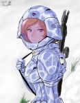 1girl 2014 alien armor assault_rifle bodysuit camouflage energy_gun giantess gloves gun helmet hill looking_at_viewer macross meltrandi military military_uniform mountain orange_hair original red_eyes rifle science_fiction serious signature snow soldier spacesuit tree uniform weapon zentradi