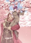 2boys brothers brown_hair cape cherry_blossoms dozle_zabi gakuran garma_zabi gundam mobile_suit_gundam multiple_boys purple_hair school_uniform siblings snj tree
