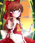 1girl ascot bamboo bow brown_hair clouds detached_sleeves hair_bow hair_tubes hakurei_reimu highres lens_flare light_smile long_hair looking_at_viewer mountain ofuda payot redhead sarashi shinonome_kia skirt skirt_set solo sunset touhou