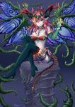 1girl bare_shoulders blue_legwear boots breasts butterfly_wings cleavage crown demon_girl demon_tail elbow_gloves gloves green_eyes hera-beorc_(p&d) hera_(p&d) mewwuwu multicolored_hair orange_hair pointy_ears puzzle_&_dragons redhead smile tail thigh-highs thigh_boots vines wings
